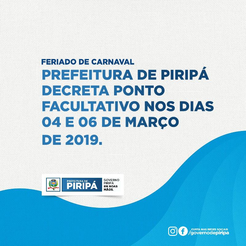 Imagem Carnaval: Prefeitura decreta ponto facultativo nos dias 04 e 06 de março