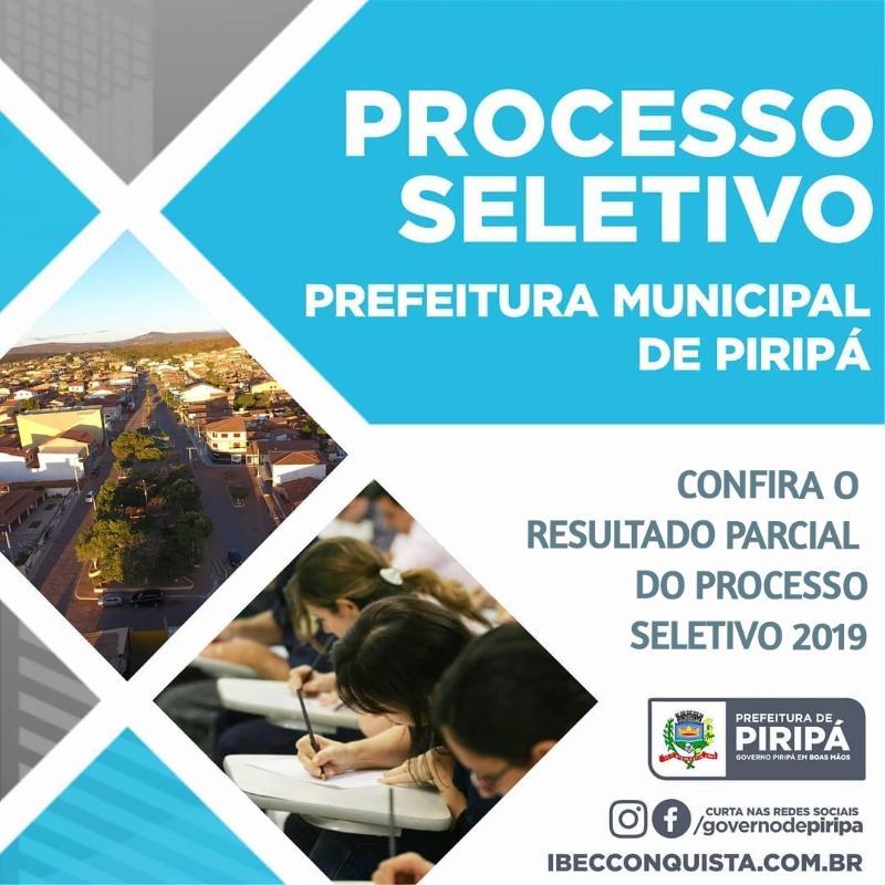 Imagem Confira o resultado parcial do Processo Seletivo da Prefeitura de Piripá