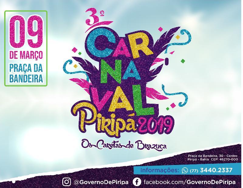 Imagem Para crianças e adultos: confira a programação do Carnaval de Piripá 2019