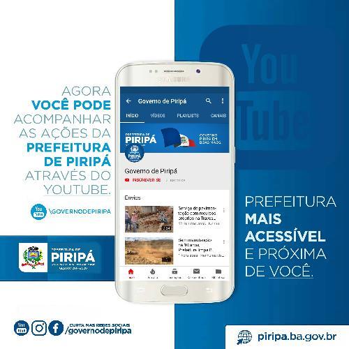 Imagem Comunicação em destaque: Prefeitura de Piripá lança canal no Youtube
