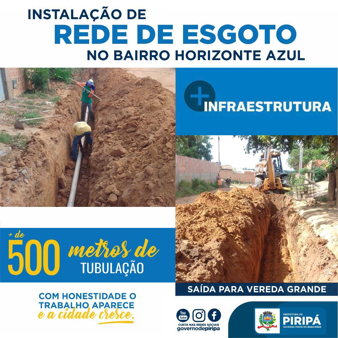 Imagem Prefeitura realiza instalação de rede de esgoto no bairro Horizonte Azul