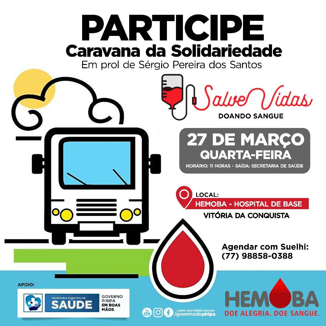 Imagem Caravana da Solidariedade faz convite para doação de sangue nesta quarta (27)