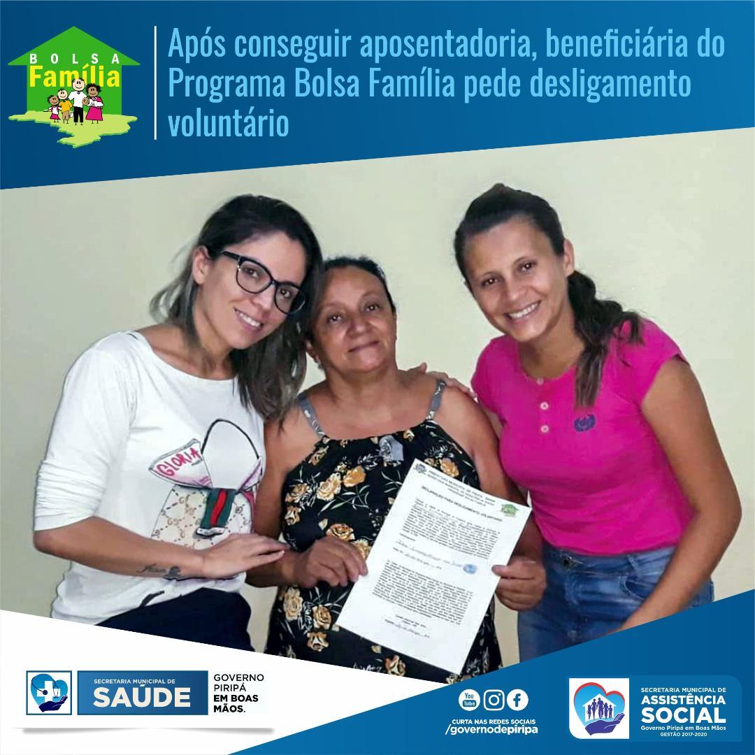 Imagem Após conseguir aposentadoria, beneficiária do Programa Bolsa Família pede desligamento voluntário