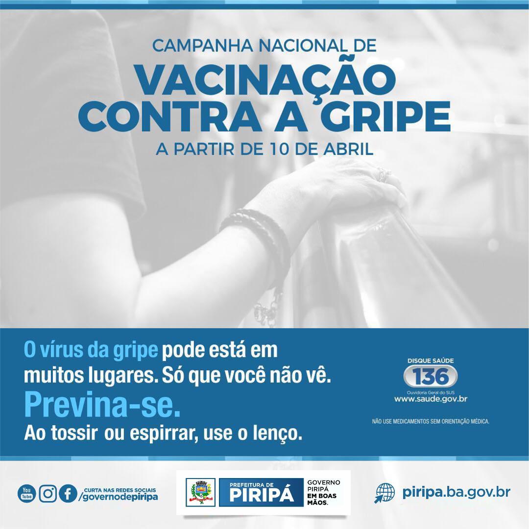 Imagem Campanha nacional de vacinação contra a gripe começa dia 10