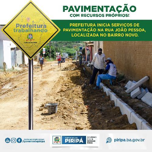Imagem Qualidade de vida e urbanização! Obras de pavimentação com recursos próprios iniciadas na Rua João Pessoa