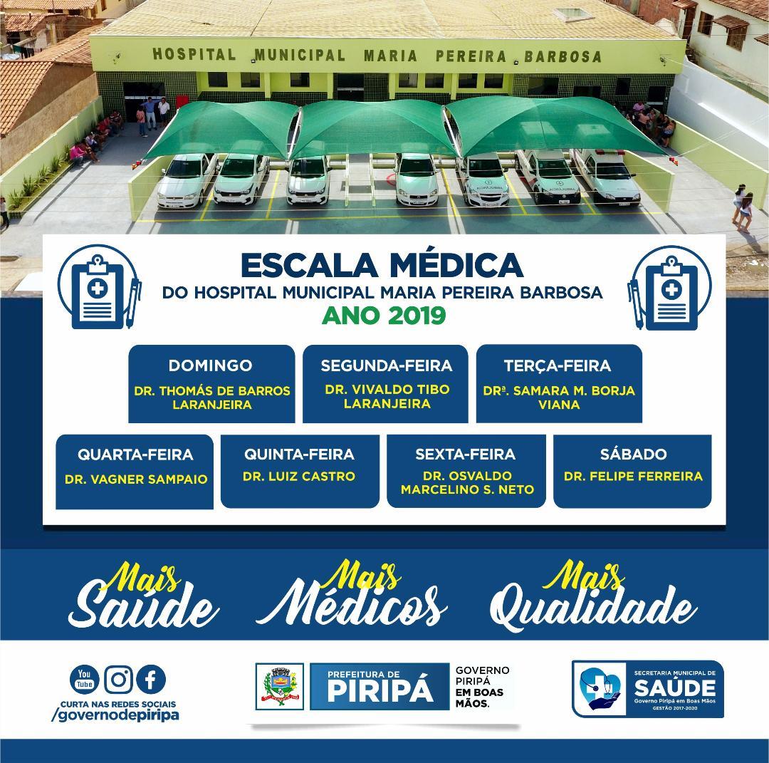 Imagem Saúde: Prefeitura divulga escala médica do Hospital Municipal Maria Pereira Barbosa