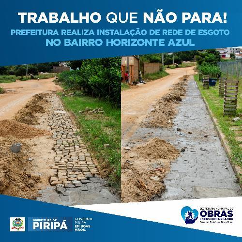 Imagem Bairro Horizonte Azul recebe rede coletora de esgoto