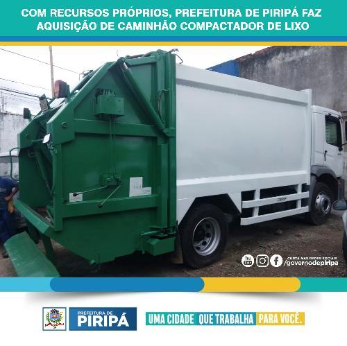 Imagem Com recursos próprios, Prefeitura de Piripá faz aquisição de caminhão compactador de lixo