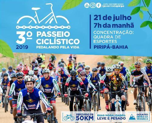 """Imagem 3º Passeio Ciclístico """"Pedalando pela Vida"""" acontece no dia 21 de julho, em Piripá"""