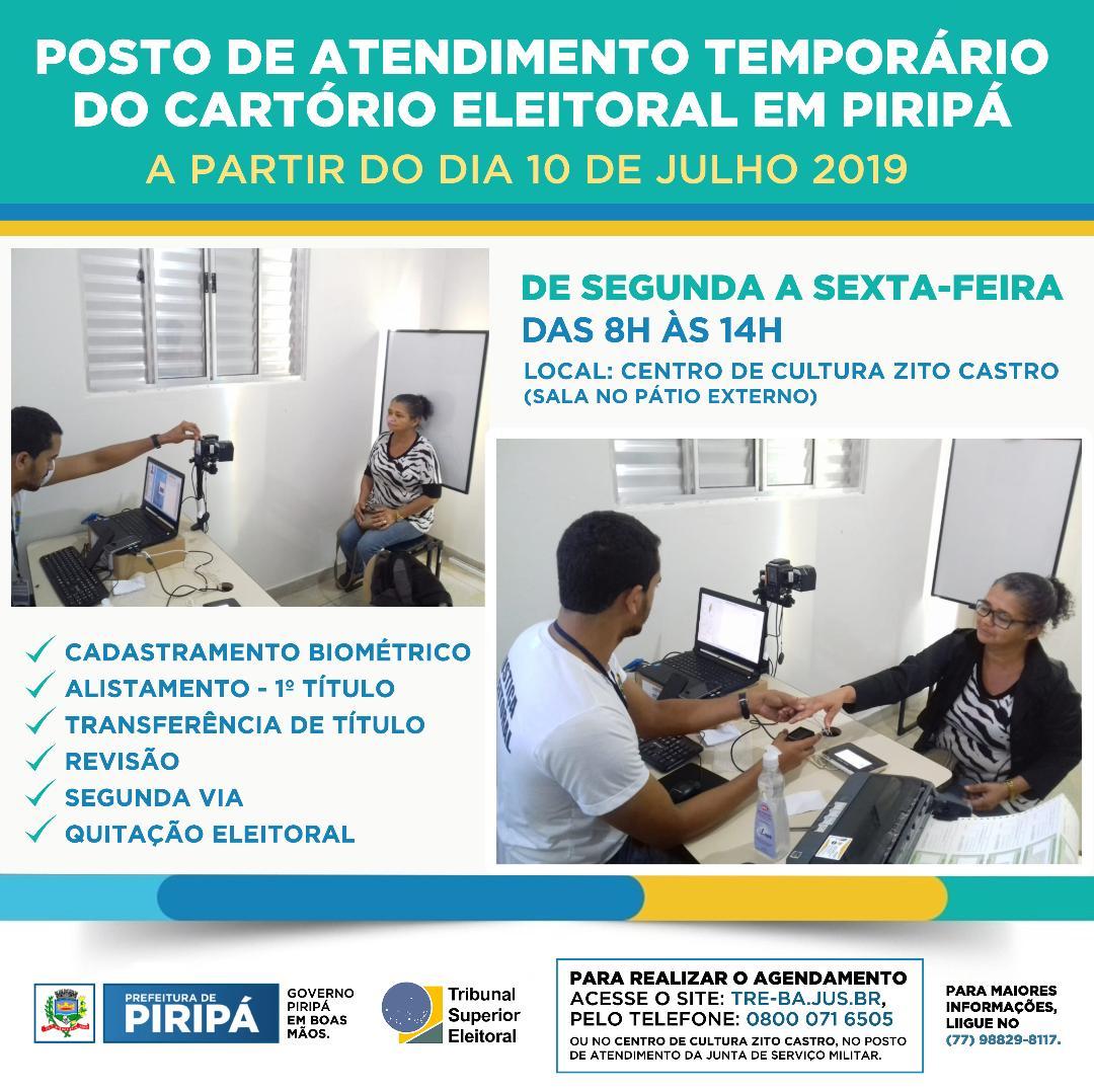 Imagem Biometria: Posto de atendimento temporário do Cartório Eleitoral será aberto no dia 10 de julho, em Piripá