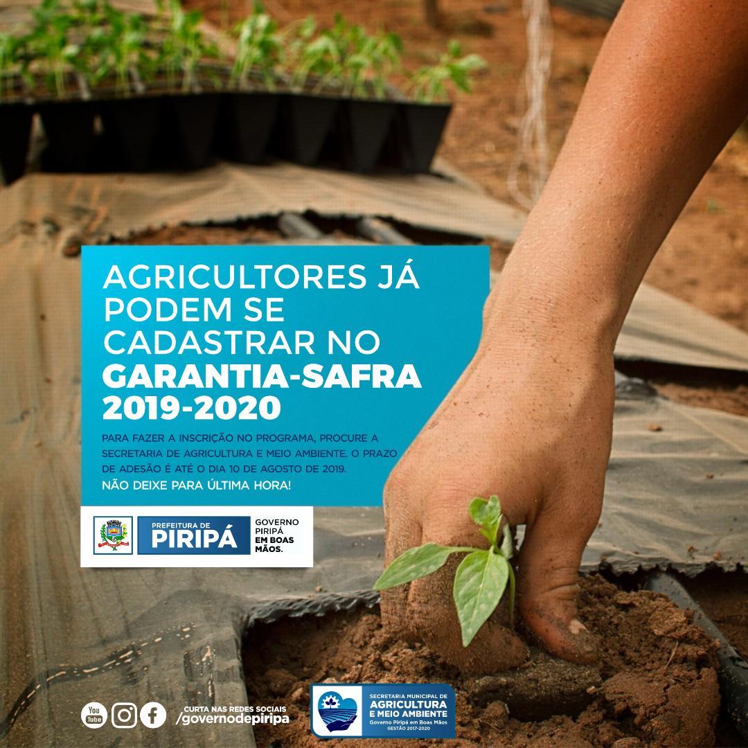 Imagem Agricultores já podem se cadastrar no Garantia-Safra 2019-2020